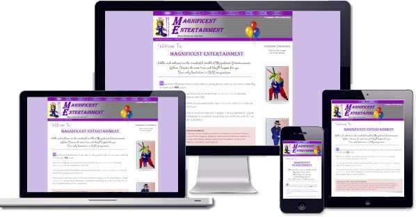 Customised responsive website being developed for Magnificent Entertainment